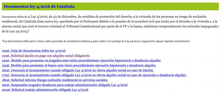 El Grup Promotor de la ILP Habitatge-Llei 24/2015, publica nous documents per aturar desnonaments i aconseguirreallotjaments