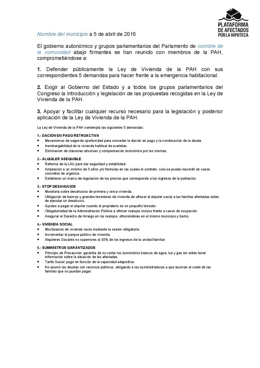 Documento de compromiso, Parlamentos-001